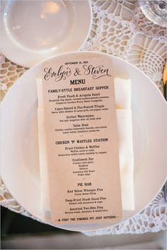 wedding menu ideas #rusticwedding #weddingmenu #weddingchicks http://www.weddingchicks.com/2014/03/26/rustic-romance-wedding/