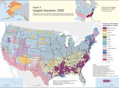 Map of what ethnicity has the largest ancestry in the United States, by county 2000