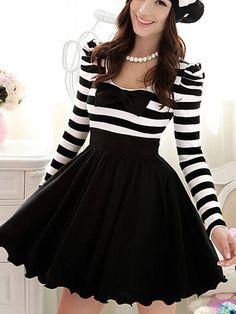 Bowknot puff sleeve long sleeve dress