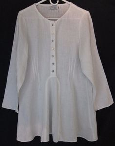 Willow White Linen Tunic Top XL Long Sleeve Shell Buttons #Willow #Tunic
