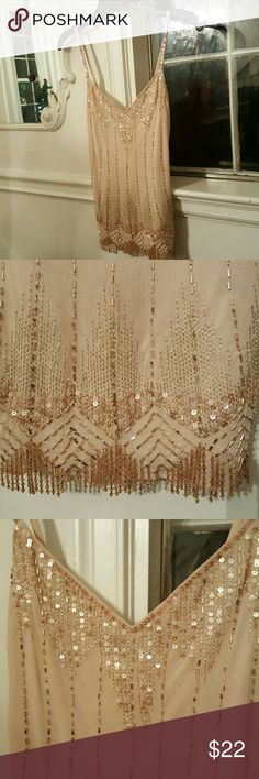 Bedazzled sequin and beaded tank Bedazzled sequined and beaded nylon Express tank Express Tops Tank Tops