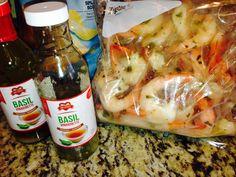 Shrimp marinated in JJS OWN Basil Vinaigrette Salad Dressing, Vinaigrette, Fresh Rolls, Basil, Shrimp, Appetizers, Ethnic Recipes, Food, Appetizer
