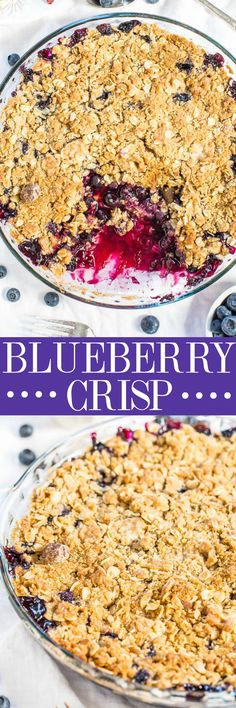 Blueberry Crisp - Sweet, juicy blueberries topped with a crispy, crumbly topping! Easy, one bowl, no mixer dessert that's an all-time favorite!! (Never bother with blueberry pie again because this is so much better!)