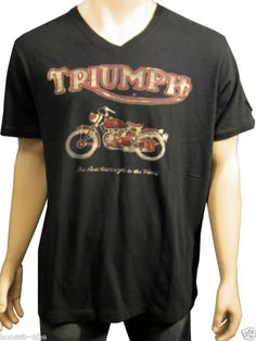NEW LUCKY BRAND Triumph Worlds Fastest Motorcycle Graphic S/S Black Tee Shirt XL