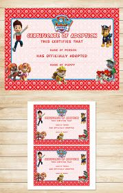 Free Paw Patrol Printables: Free Printable Paw Patrol Adoption Certificate 5x7 | Red BG Theme