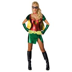 Something incredibly sexy about the metallic look of this Super Hero female Robin. The colors just pop!~ I love it!  #Halloween
