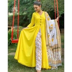 Cotton Anarkali, Anarkali Kurti, Salwar Kameez, Sarees, Yellow Kurti, Image Model, Special Dresses, Indian Bollywood, Bollywood Style