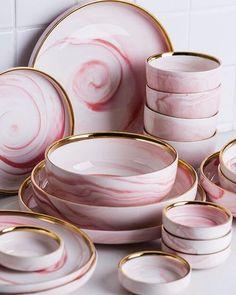 Penelope Collection Pink Marble Dinnerware - Home Decor Jelly Shots, Pink Marble, Dinnerware Sets, Green Dinnerware, Rustic Dinnerware, Vintage Dinnerware, Kitchen Items, Kitchen Cook, Kitchen Island