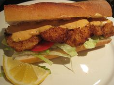Shrimp Po Boy recipe...looks and sounds yummy...just look at those ingredients!