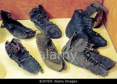 Vindolanda museum display (Northumberland, England) of Roman era leather footwear shoes (from near Hadrian's Wall).