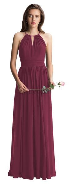8377765ac20c1 Style 7002 from by Bill Levkoff is a chiffon halter spaghetti strap long  bridesmaid dress. Soft gathers adorn the bodice with key hole front and  back.