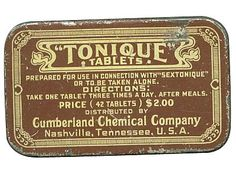 """Cumberland Chemical Company """"Tongue Tablets"""" …for use in connection with """"sextonique""""?"""