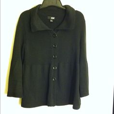 Women's black sweater top Women's black button down, long sleeve with flare at end sweater top, cotton/acrylic preowned no holes or marks, size L a.n.a Sweaters Crew & Scoop Necks