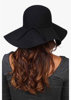 Bardot floppy wool hat in Black | Necessary Clothing
