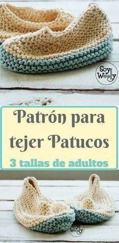 Otro proyecto para principiantes, tejido en Punto Bobo: patucos, pantuflas o zapatillas para adultos en dos agujas (de esas de andar por casa). Ideal para utilizar restos de algodón o lana #patucos #zapatillas #pantuflas #tejido #dosagujas #tricot #palillos #calceta #patrón #patrongratuit #patronesenespañol #aprenderatejer #puntobobo #punto #patucostejidos #pantuflastejidas #patucostejidos #soywoolly Knitting Blogs, Knitting Socks, Baby Knitting, Knitting Patterns, Crochet Patterns, Easy Crochet, Knit Crochet, Crochet Hats, Knit Stockings
