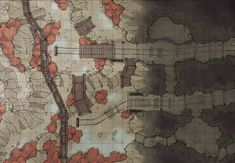 The Damp Mine Exterior, a battle map for D&D / Dungeons & Dragons, Pathfinder, Warhammer and other table top RPGs. Tags: camp, cave, dungeon, mine, rain, tunnel, underground, wilderness