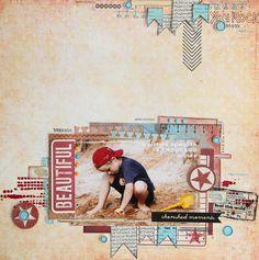 #papercraft #Scrapbook #layout.  Summer on the beach - Scrapbook.com