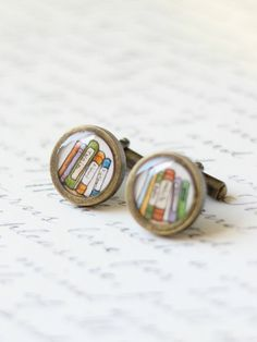 Bookends cuff links for Father's Day -- by SarahLambertCook. One of a kind.