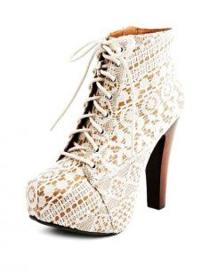 Vintage Lace Chunky Heels Boots Lace Up