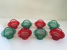Vintage Christmas Plastic CANDY AND NUT CUPS - SET OF EIGHT - 1950's!