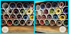 """Vinyl Storage using 3"""" x 10' pvc pipe, cut to 9"""" lengths (Cost $9 at HomeDepot) :) The bean stitch, bean stitch, machine embroidery design, bean stitchers, ITH, in the hoop, free designs, free font, mini font, embroidery, download, embroidery design, gift idea, DIY, PVC pipe storage, PVC, storage, vinyl, vinyl storage, htv, decal,kam snaps, glitter vinyl, marine vinyl, snap beans, snap tabs, key fob, bag tag, gift, embroidery, small business, shop small"""