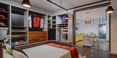 1000 square feet kitchen and wardrobe showroom design by Ashwin Architects in Bangalore. Wardrobe Sets, Bedroom Wardrobe, Retail Architecture, Architecture Design, Showroom Interior Design, Retail Design, Square Feet, Design Projects, Kitchen