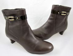 abab12a88c7b Cole Haan Comfort 8.5 B Lana Leather Ankle Boots Shoes Side Zip Chocolate  Brown