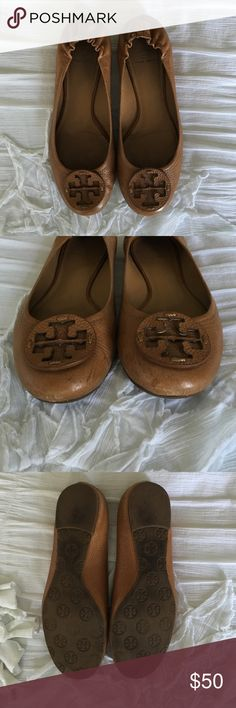 Tory Burch 'Minnie travel ballet flat' Tory burch minnie flat in cognac leather, size 10. Do show signs of wear Tory Burch Shoes Flats & Loafers