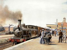 Art Train Journeys : Steam Train Painting by Howard Fogg - Steam Locomotive on Station , Water Colour Painting by Howard Fogg 29 Steam Art, Train Posters, Railway Posters, Old Steam Train, Train Times, Train Art, Train Pictures, British Rail, Old Trains