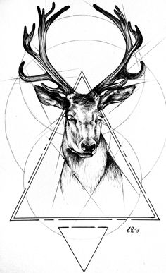 ▷ 1001 + ideas and inspirations for beautiful pictures to paint! Deer Head Tattoo, Deer Skull Tattoos, Bull Tattoos, Head Tattoos, Hirsch Tattoos, Cervo Tattoo, Electronic Tattoo, Black And White Art Drawing, Model Tattoo