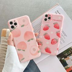 Pink Cute Fruit Strawberry Peach Case For iPhone 11 Pro Max X Xs Max Xr 7 8 Plus