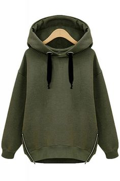 Love Army Green + Black! Khaki Green Zippers Decorated Loose Long Sleeve