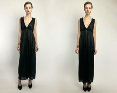 Vintage 90s 80s Black Lace Vamp Pleated Deep V Empire Waist Full Length Gown Dress S M