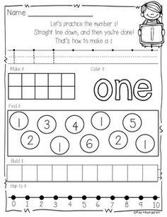 Number Practice Printables by Miss Kindergarten Love Teaching Numbers, Primary Teaching, Math Numbers, Teaching Math, Preschool Math, Math Classroom, Fun Math, Classroom Setup, Maths