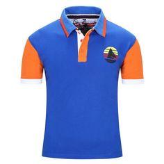 Men Polo Shirts Patchwork Polo T-Shirts, Short Sleeves, Yellow, Orange, Blue