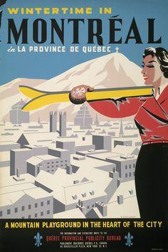 Vintage provincial Quebec tourism poster for Montreal Ski Vintage, Vintage Ski Posters, A4 Poster, Poster Prints, Art Print, Skiing, Snowboarding, Quebec Winter, Tourism Poster
