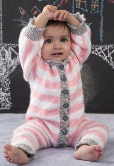 Free Knitting Pattern for Royal Knit Baby Onesie - Striped baby onesie from Red Heart in 3 sizes – 0-3 months, 6-12 months, 18 months. Designed by Lorna Miser