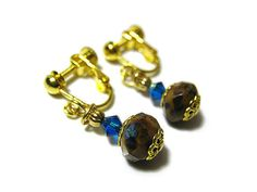 Blue Brown Yellow Beaded Earrings Gold Plated by SharkysWaters