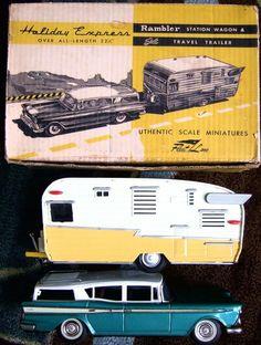 1959 RAMBLER with Trailer, Tin toy