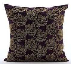 Handmade Purple Cushion Covers, Beaded Gold Tulips Flower... https://www.amazon.com/dp/B016H8W9IE/ref=cm_sw_r_pi_dp_x_gZlbybC6NWKT5