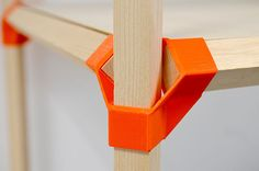 Jonction is a low-cost scenography system using 3D printed connectors and standard wood sticks.