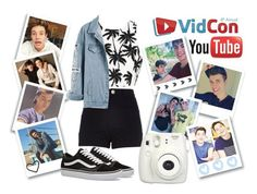 """""""VidCon meet up!"""" by hola-hi ❤ liked on Polyvore featuring River Island, Vans, Dolan and Fujifilm"""