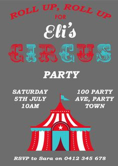 Custom Blue Red & Grey Circus Themed Party by Leeandmeinvitations