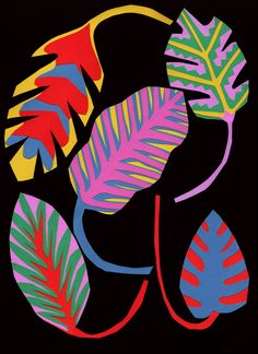 Alexander Purdy.   idea for exploring free-form shapes in Intro Art: colorful objects from nature on black paper