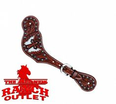 Cowhide Winged Cross Chestnut Spur Straps