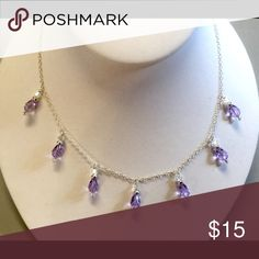"""Violet Swarovski Crystals SS Necklace Swarovski Violet Teardrop Crystals Sterling Silver Necklace.  Lobster Claw Clasp.   Approx 18"""" in length. Jewelry Necklaces"""