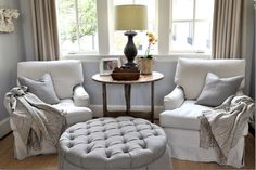 seating arrangement. tufted ottoman