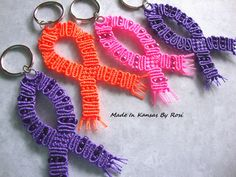 Micro-Macrame Awareness Ribbon Key Rings... Purple for Alzheimer's Disease, Orange for Kidney Cancer, Pink for Breast Cancer... from Made In Kansas By Rosi, on Facebook.