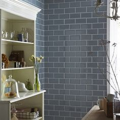 Shop Metro tiles at Topps Tiles. Stores Nationwide or Buy Online, plus choose sample tiles with free delivery. Kitchen Splashback Tiles, Blue Backsplash, Kitchen Walls, Kitchen Doors, Kitchen Dining, Dining Room, Tiles Uk, Blue Tiles, Upstairs Bathrooms