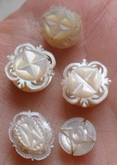 Old antique vintage mother of pearl carved button type studs Victorian